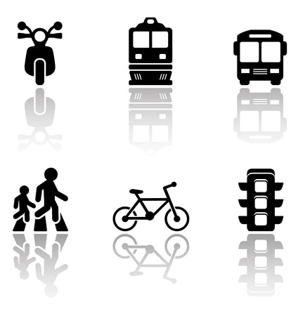 autobus: set of black road symbols with reflection silhouette Illustration