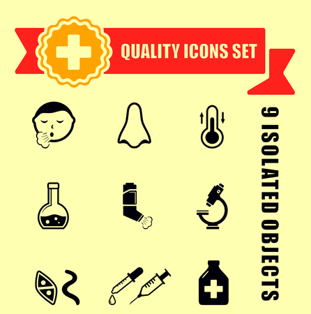 rheum: quality medical illness icons with red tape