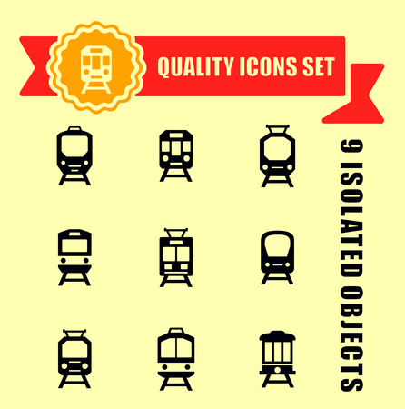 red tape: quality trains icon set with red tape
