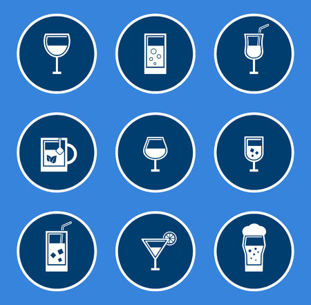 round glasses icon set on blue background