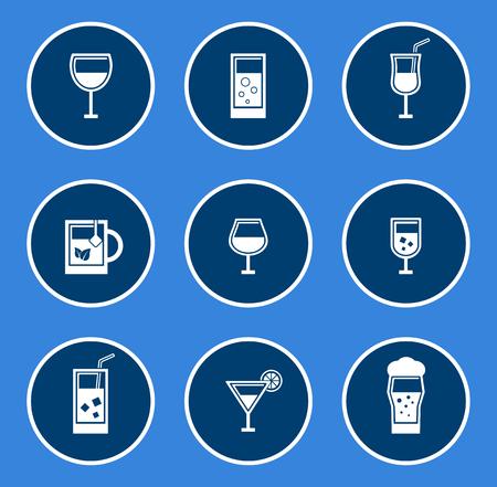 aeration: round glasses icon set on blue background