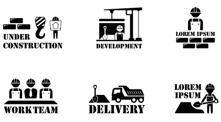 Industrial workers: set of black isolated concept building icons
