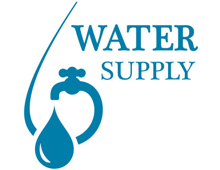 drinkable: blue water supply concept icon with faucet silhouette Illustration