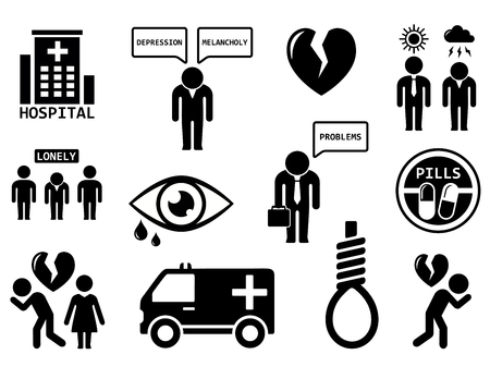 disorders: isolated emotional disorders concept icon set on white background