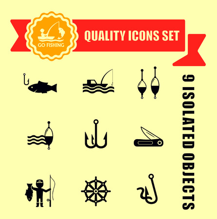 floater: fishing quality icons set with red tape