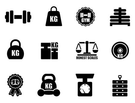 Waagen-und Icon-Set auf weißem Hintergrund