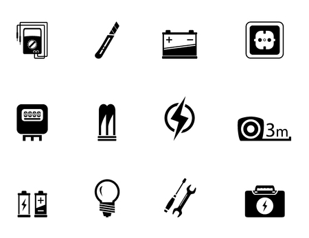 alternating current: set of isolated electrical equipment objects silhouette