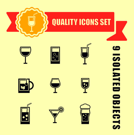 drinkable: quality glasses icon set with red tape