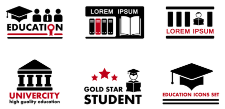 accent: set of education concept icons with red accent