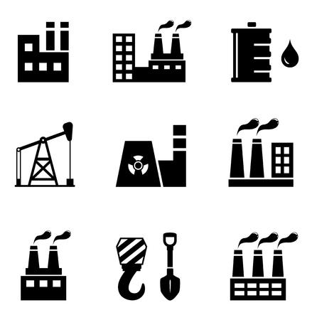 smokestack: set of black industrial icons on white background