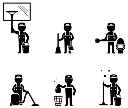 cleaner worker: set of isolated cleaner worker man silhouette