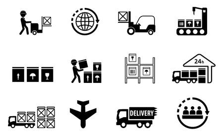 icônes concept de livraison de fret mis sur fond blanc