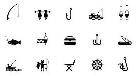 sea bass: set of black concept fishing isolated icons Illustration