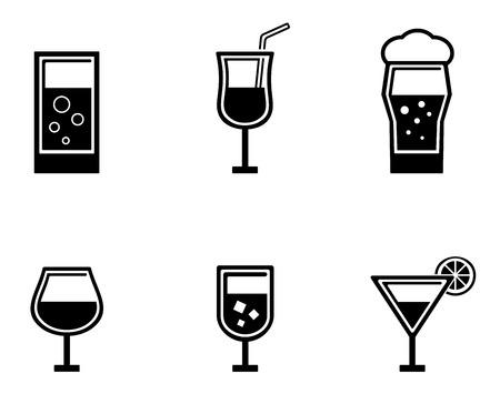 aeration: set of six black isolated glasses icons Illustration
