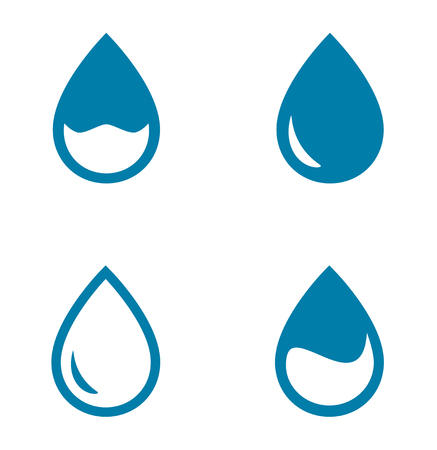 drops of water: set of blue four water drops silhouette Illustration