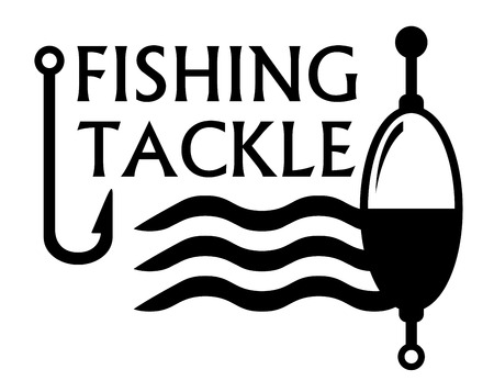 fishing tackle: black fishing tackle concept symbol with river wave silhouette