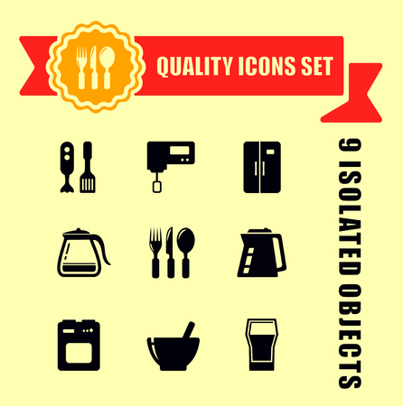 ware: kitchen ware quality icon set with red tape