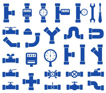 pojedyncze niebieskie przewody hydrauliczne ustawione na białym tle Ilustracje wektorowe