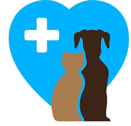 good grooming: veterinary icon and pet symbol with dog, cat and blue heart Illustration