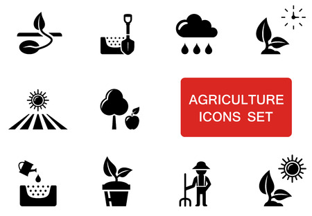 set of black agriculture icons with red accent