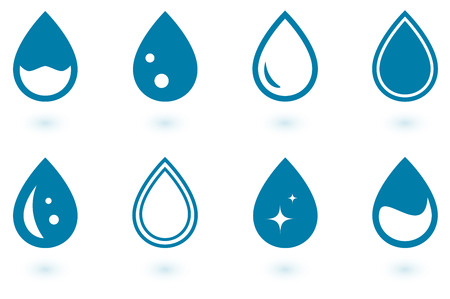drinkable: set of isolated water drops with shadow Illustration