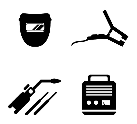 jig saw: set of black icons with welding equipment silhouette Illustration