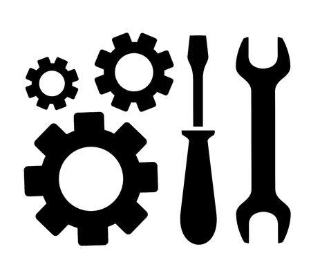 hardware configuration: concept repair symbol with sprocket, wrench and screwdriver silhouette Illustration