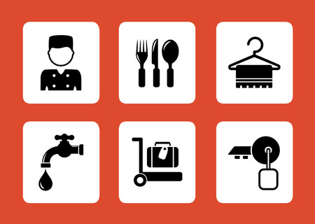 concept hotel: set of concept hotel icons on red background