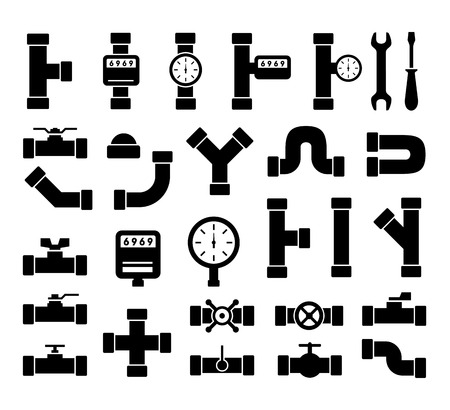 plumbing tools: set of black isolated plumbing pipes icon