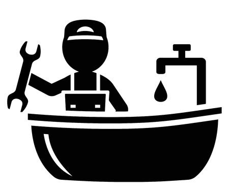 black bathroom: isolated icon with plumber man on bathroom