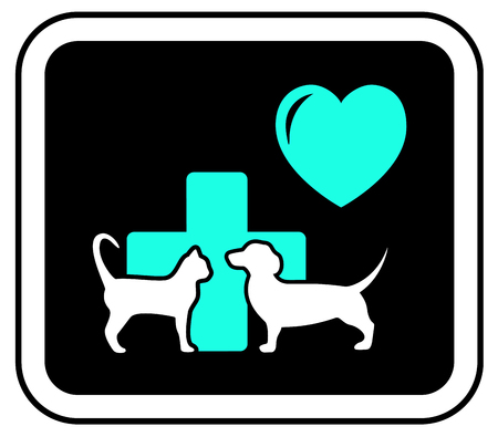 cat call: veterinary sign with heart, cross and pets