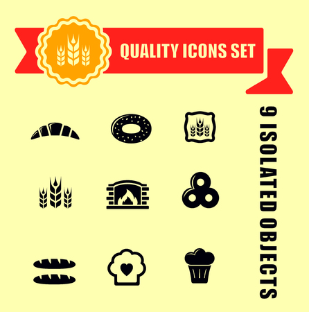 red tape: set of bakery products quality icons with red tape
