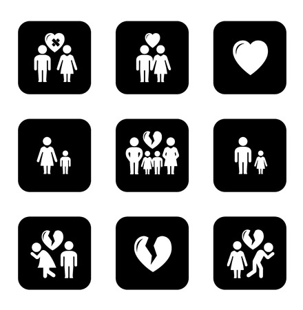 breakup: couple breakup, divorce black icons set on white background Illustration