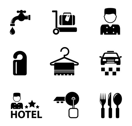 keycard: set of isolated black hotel icon services