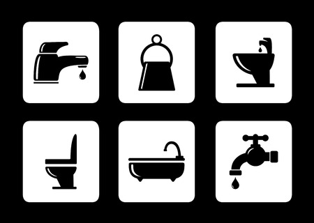 sanitary engineering: six isolated bathroom icons on black background