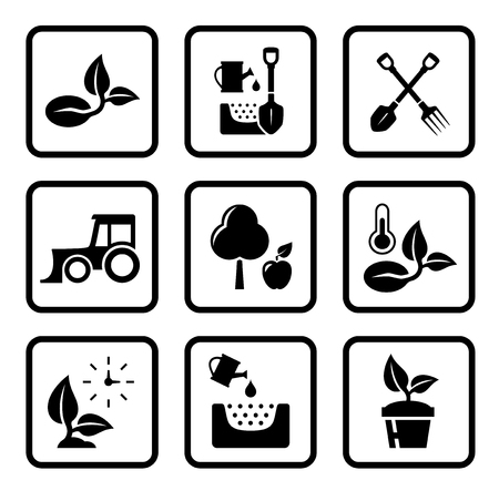 grain fields: set of black isolated concept agriculture icons