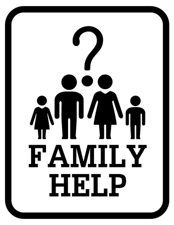 black family: isolated black family silhouette help concept symbol