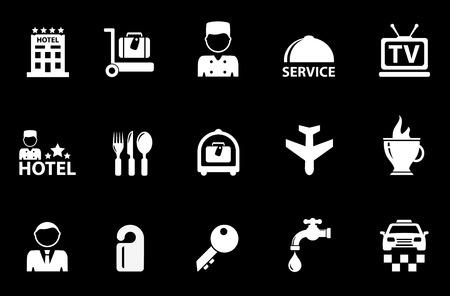 geïsoleerde hotel witte objecten op een zwarte achtergrond Vector Illustratie
