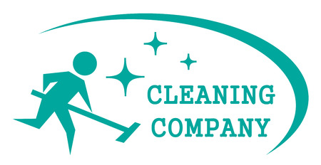 blue cleaning symbol with cleaner man on work