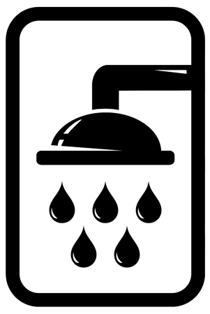 engeneering: black icon with shower silhouette and falling drops Illustration