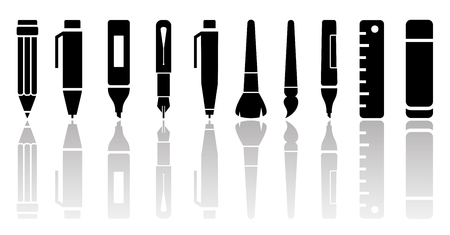 reflection mirror: writing tools set with mirror reflection silhouette Illustration