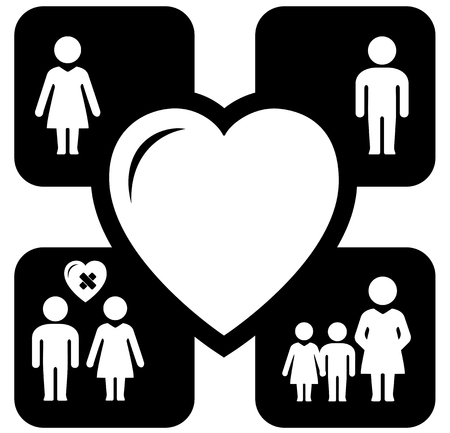 help symbol: set four concept icons with big heart - family help symbol Illustration