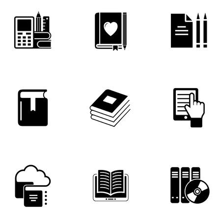 e book: e book and cloud data storage concept icon set on white background