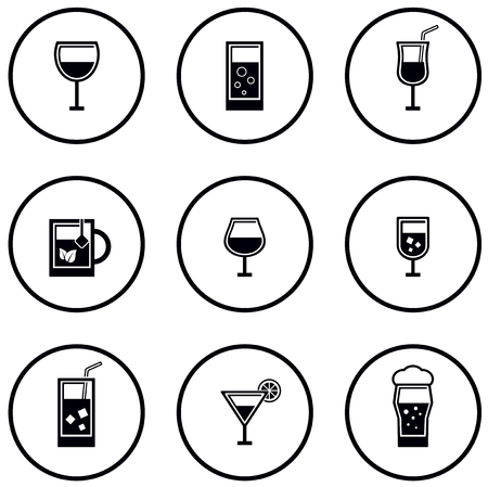 round glass and goblet icon set on white background