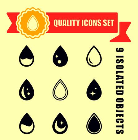 set quality drop icons with red tape Ilustração
