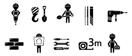 puncher: black industrial concept icon set on white background