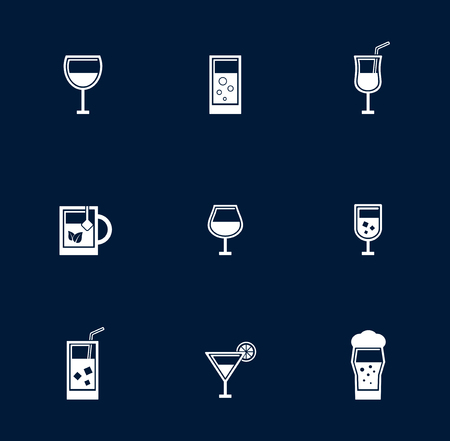 drinkable: set isolated goblet and glasses object on blue background