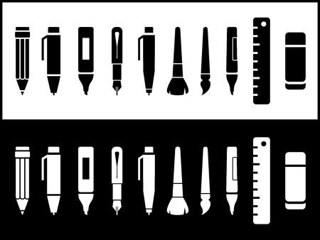 pencil sharpener: isolated writing icons set on black and white background Illustration