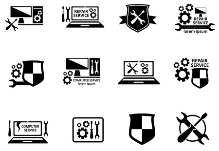 computer repair: computer service and repair symbols set on white background