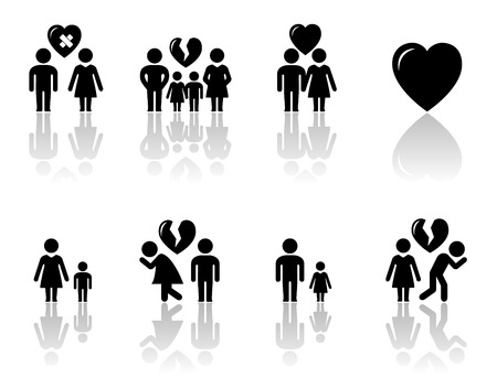 broken love: family concept icons with mirror reflection silhouette